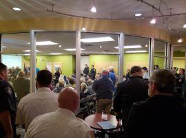 Crowd inside meeting