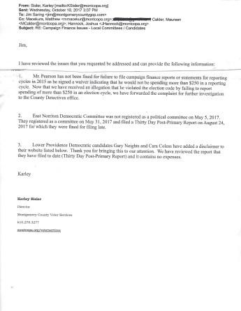 Letter from VS