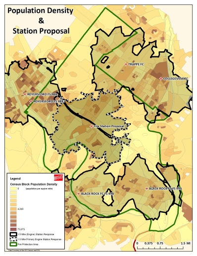 Figure 3 Population density and station proposal