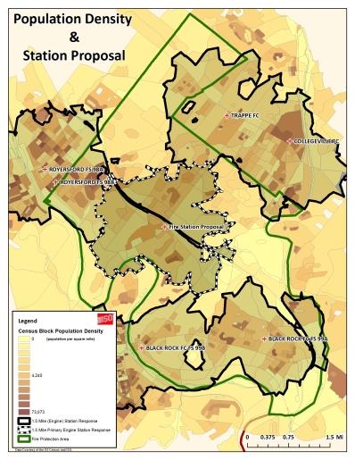 Figure 3 Population density and station proposal